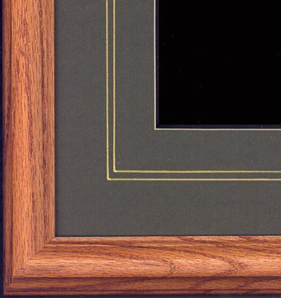 Oak frame with dark olive mat