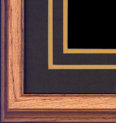 Oak frame with double-cut dark ash and gold mat