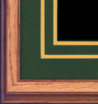 Oak frame with double-cut dark olive and gold mat